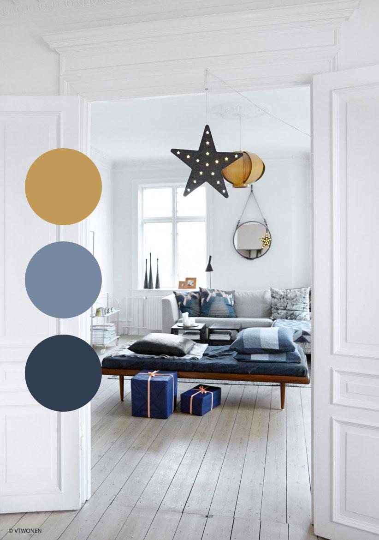 slaapkamer blauw geel. Black Bedroom Furniture Sets. Home Design Ideas